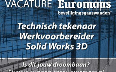 Vacature: Technisch tekenaar werkvoorbereider Solid Works 3D